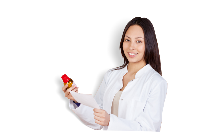 A pharmacist holding a bottle of medicine and a piece of paper