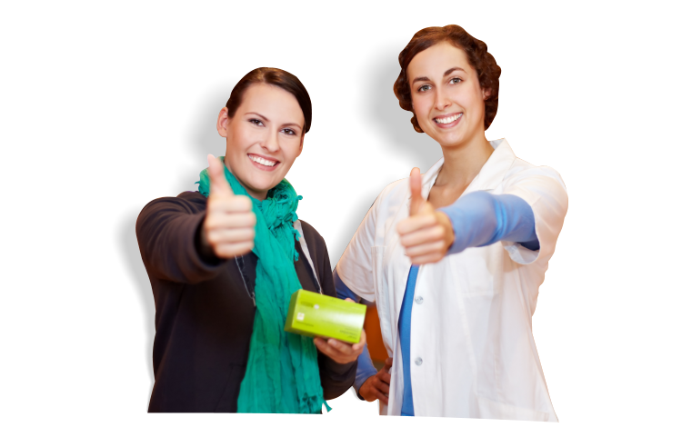A pharmacist and a customer doing a thumbs up sign